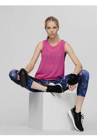 4f - Top do biegania damski. Kolor: różowy. Materiał: dzianina. Długość: długie. Sport: bieganie