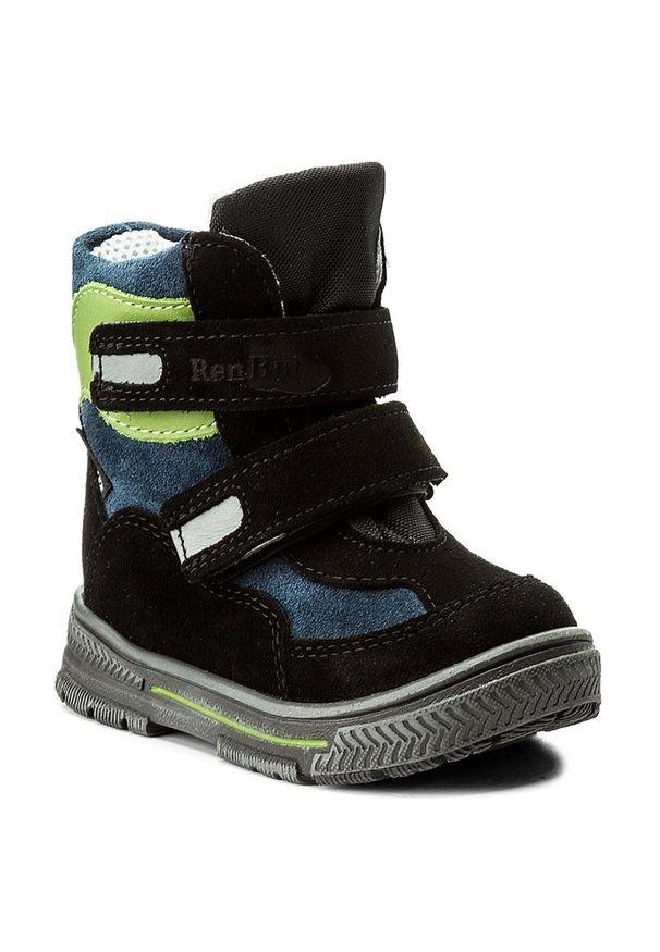 RenBut - Śniegowce RENBUT - 12-1463 Czarny Zielony. Kolor: czarny, wielokolorowy, zielony. Materiał: skóra, zamsz. Sezon: zima, jesień
