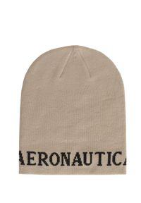 Aeronautica Militare - Czapka AERONAUTICA MILITARE. Kolor: beżowy. Materiał: dzianina. Wzór: moro, aplikacja, nadruk. Sezon: zima. Styl: militarny