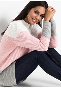Biały sweter bonprix długi, ze stójką, w paski