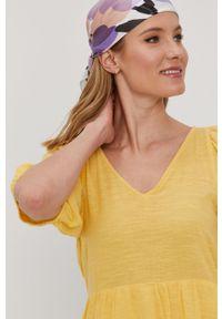 Vero Moda - Sukienka. Kolor: żółty. Materiał: tkanina. Długość rękawa: krótki rękaw. Wzór: gładki. Typ sukienki: rozkloszowane