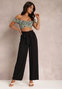 Renee - Czarne Spodnie Szerokie Phiorephis. Kolor: czarny. Materiał: tkanina, wiskoza, materiał. Długość: długie. Wzór: kwiaty, gładki