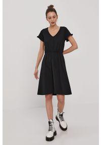 Czarna sukienka Vila mini, prosta, gładkie, casualowa