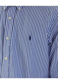 Ralph Lauren - RALPH LAUREN - Koszula w pasy z logo. Okazja: na co dzień. Typ kołnierza: polo, kołnierzyk klasyczny. Kolor: biały. Materiał: bawełna. Długość rękawa: długi rękaw. Długość: długie. Wzór: haft. Styl: klasyczny, casual