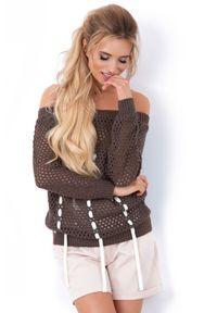 Brązowy sweter oversize Fobya w ażurowe wzory