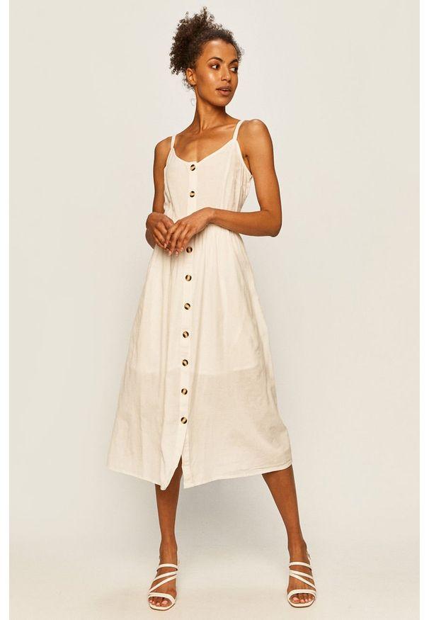 Biała sukienka Vila midi, na co dzień, prosta