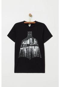 Czarny t-shirt OVS casualowy, z nadrukiem, na co dzień