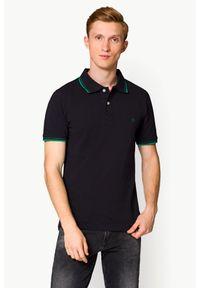 Niebieska koszulka polo Lancerto w kolorowe wzory, casualowa, na co dzień, polo