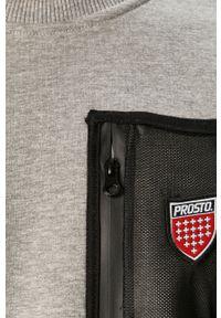 Szara bluza nierozpinana Prosto. bez kaptura, z aplikacjami