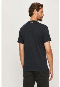 Niebieski t-shirt Armani Exchange casualowy, z nadrukiem, na co dzień