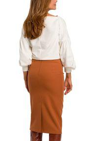 Style - Ołówkowa spódnica na grubym pasku w talii. Materiał: materiał, elastan. Styl: klasyczny