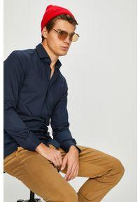 Tommy Hilfiger Tailored - Koszula. Typ kołnierza: kołnierzyk włoski. Kolor: niebieski. Materiał: tkanina. Wzór: gładki