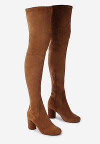 Born2be - Camelowe Kozaki Brace Yourself. Wysokość cholewki: za kolano. Nosek buta: okrągły. Zapięcie: zamek. Materiał: dzianina. Szerokość cholewki: normalna. Wzór: gładki. Obcas: na słupku. Styl: klasyczny
