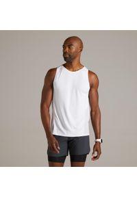 KIPRUN - Koszulka Do Biegania Bez Rękawów Kiprun Light Męska. Kolor: biały. Materiał: elastan, poliester, materiał, poliamid. Długość rękawa: bez rękawów. Sport: fitness