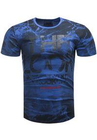 Niebieski t-shirt z nadrukiem Recea klasyczny, z krótkim rękawem, na co dzień