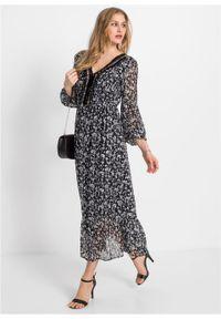 Długa sukienka z nadrukiem i aplikacją bonprix czarno-szaro-biały wzorzysty. Kolor: czarny. Wzór: nadruk, aplikacja. Długość: maxi