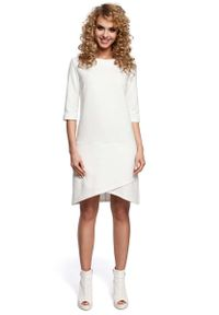 MOE - Ecru Sukienka z Zakładanym Dołem. Materiał: bawełna, poliester
