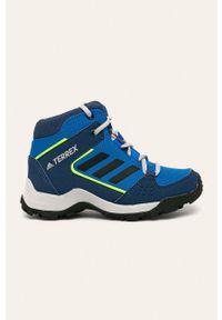 Niebieskie buty zimowe adidas Performance na zimę, z okrągłym noskiem, na sznurówki, z cholewką