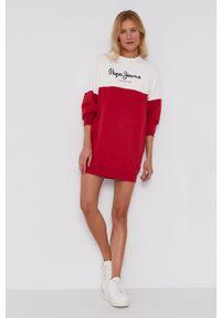 Pepe Jeans - Sukienka Blanche. Kolor: czerwony. Materiał: dzianina