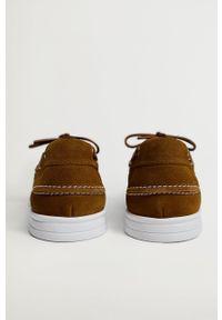 Mango Man - Półbuty zamszowe SAIL. Nosek buta: okrągły. Zapięcie: sznurówki. Kolor: brązowy. Materiał: zamsz #5
