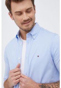 TOMMY HILFIGER - Tommy Hilfiger - Koszula. Typ kołnierza: button down. Kolor: niebieski. Materiał: tkanina. Długość rękawa: długi rękaw. Długość: długie. Wzór: gładki