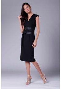 Czarna sukienka wizytowa Nommo midi, elegancka, ołówkowa