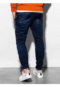 Ombre Clothing - Spodnie męskie dresowe joggery P917 - granatowe - XXL. Kolor: niebieski. Materiał: dresówka