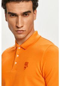 Karl Lagerfeld - Polo. Okazja: na co dzień. Typ kołnierza: polo. Kolor: pomarańczowy. Materiał: dzianina. Długość: krótkie. Wzór: gładki. Styl: casual
