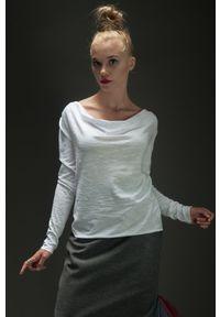 Biała bluzka Hultaj Polski długa, z długim rękawem, z dekoltem woda