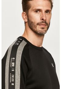 Czarna bluza nierozpinana G-Star RAW casualowa, bez kaptura, z aplikacjami, na co dzień