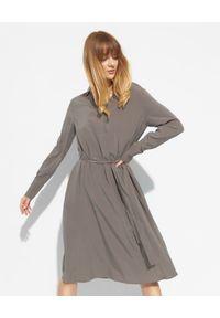 HERZEN'S ANGELENGEHEIT - Jedwabna sukienka midi. Kolor: szary. Materiał: jedwab. Długość: midi