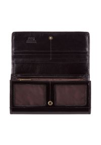 Wittchen - Damski portfel ze skóry lakierowany duży. Kolor: czarny. Materiał: lakier, skóra. Wzór: aplikacja