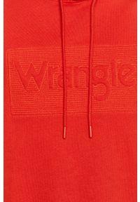Czerwona bluza nierozpinana Wrangler z nadrukiem, z kapturem