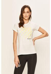 Biała bluzka New Balance na co dzień, casualowa, z okrągłym kołnierzem, z nadrukiem