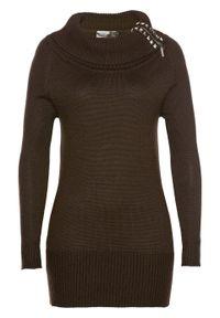 Brązowy sweter bonprix długi, z golfem