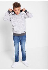 Bluza chłopięca melanżowa z kapturem bonprix szary melanż. Typ kołnierza: kaptur. Kolor: szary. Wzór: melanż. Styl: sportowy