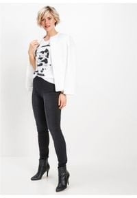 Shirt bonprix biało-czarno-srebrny. Kolor: biały. Wzór: nadruk. Styl: elegancki