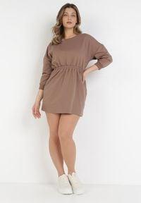Born2be - Brązowa Sukienka Apheasi. Okazja: na co dzień. Kolor: brązowy. Materiał: dzianina. Wzór: jednolity. Typ sukienki: proste. Styl: casual. Długość: mini