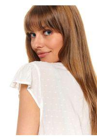 Biała bluzka TOP SECRET na wiosnę, elegancka, z falbankami, z aplikacjami
