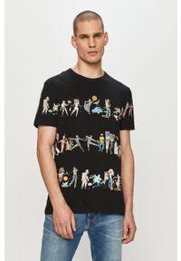 Czarny t-shirt Desigual casualowy, na co dzień