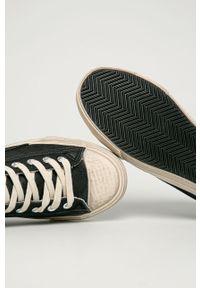 Czarne niskie trampki Guess Jeans na sznurówki, z okrągłym noskiem