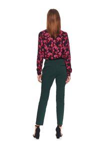 Zielone spodnie TOP SECRET z podwyższonym stanem, eleganckie, na zimę, w kolorowe wzory