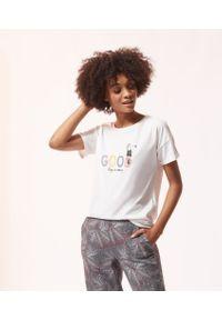 Izzy T-Shirt Z Napisem 'Good' - Surowy - Etam