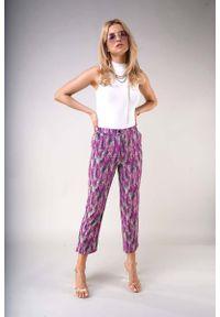 Nommo - Materiałowe Spodnie 7/8 z Prostymi Nogawkami - Lawendowa. Kolor: fioletowy. Materiał: materiał