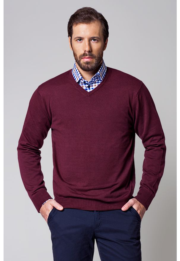 Czerwony sweter Lancerto klasyczny, na wiosnę, z dekoltem w kształcie v, w kolorowe wzory