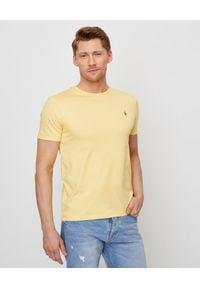 Ralph Lauren - RALPH LAUREN - Żółty t-shirt Slim Fit. Okazja: na co dzień. Typ kołnierza: polo. Kolor: żółty. Materiał: bawełna. Wzór: kolorowy, haft. Styl: casual