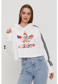 Biała bluza adidas Originals z kapturem, długa, z długim rękawem, na co dzień