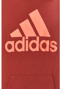 Czerwona bluza nierozpinana adidas Performance casualowa, z kapturem