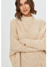 Beżowy sweter Answear Lab wakacyjny, długi, z golfem, z długim rękawem