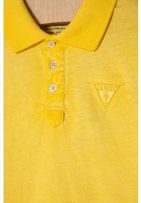 Żółty t-shirt polo Guess casualowy, na co dzień